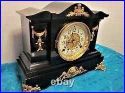 Seth Thomas Fancy Black Adamantine Mantle Clock