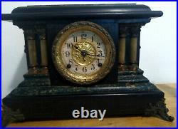 Seth Thomas Mantle Clock Pendulum Green Black Adamantine Lions Heads ANTIQUE