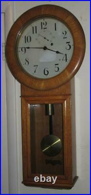 Seth Thomas No. 2 Regulator, 8 Day Time Wall Clock Oak Case, Beautiful & Running