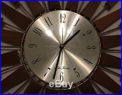 Seth Thomas Starburst/Sunburst Clock Vintage Mid-Century Working Starflower Teak