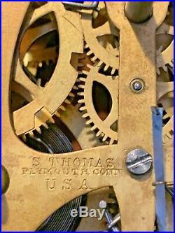 Seth Thomas Tudor #3 Shelf Clock Rosewood Antique Complete