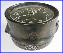 Seth Thomas Us Navy Mark 1 Deck Clock Bulkhead Mnt #21231, 6.75 Face, Wwii 1942
