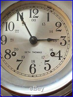 Seth thomas ship clock. Good working condition HAS KEY