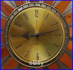 Vintage Seth Thomas Clock MID Century Modern Starflower Starburst Teak Walnut