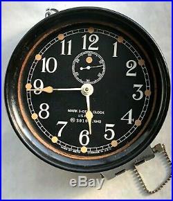 WW2 US Navy N35590 1942 Mark I-Deck Clock Vintage Seth Thoma Bakelite Black Face