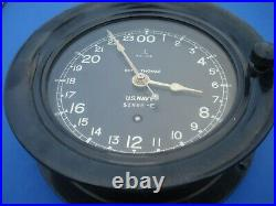 WWII Seth Thomas US Navy Ship's Clock Excellent Cosmetic Condition