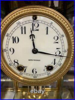 Wonderful Rare Antique Seth Thomas Crystal Regulator Clockrough Rider